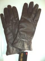 Ladies Isotoner Thinsulate Ultra Genuine Leather Gloves,Medium,Brown - $28.51