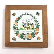Vintage Florida Souvenir Kitchen Plaque Tile Wood Kissin Dont Last Good ... - $14.80