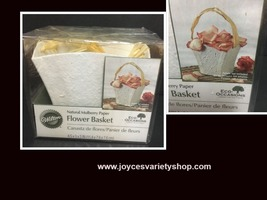 """Flower Basket White Natural Mulberry Paper 7""""H Wilton - $9.99"""