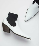 Free People White Jackson West Leather Ankle Boot - euro sz 39 - $61.38