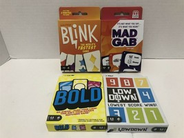 4 Mattel Card Games New Low Down,Bold, Mad Gab And Blink - $24.19