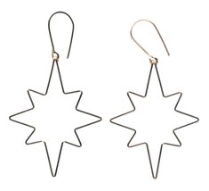 By Philippe 14KT Gold Filled Wire Small Star Flake Shepherds Hook Earrings NWT image 2