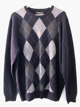 NWT Harrison Davis 100% Cashmere Men's Navy Blue Gray Argyle Sweater XL ... - $168.00