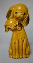 Retro Double Dog Figurine Tan color 8 1/8 inches tall cute faces - $10.88