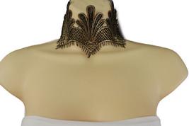 Women Metallic Gold Black Lace Fabric Wide Chok... - $12.73