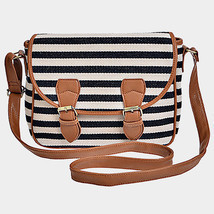 Ivory, Black & Brown Stripe Crossbody Bag Purse 293965 - $29.00