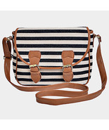 Ivory, Black & Brown Stripe Crossbody Bag Purse 293965 - £22.01 GBP