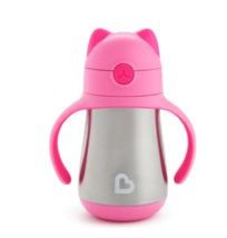 Munchkin Cool Cat Stainless Steel Straw Cup 8 Ounce Pink - $19.95
