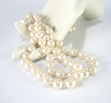 Pearl Necklace, Glass Pearls, Long, Champagne White, Silver, Decorative ... - $18.00