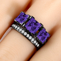 3 CT Amethyst & Diamond 3-Stone Engagement Bridal Ring Set 14K Black Gold Finish - $115.95