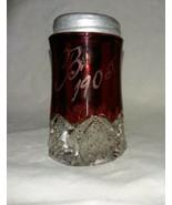 Antique 1905 Button Arches Ruby Flashed Glass G B Salt Shaker Duncan Miller - $16.99