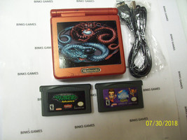 Nintendo GameBoy Advance SP Flame Red WITH CHARGER - GAMES, DRAGON STIC... - $54.77
