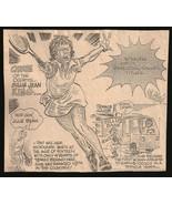 Billie Jean King Tennis Sports Phil Bissel Cartoon Sketch Newspaper Clip  - $15.99