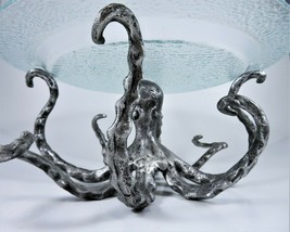 Pottery Barn Octopus Pedestal Serving Stand Cast Aluminum With Glass Plate  - $98.01