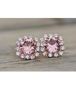 14K Rose Gold Finish Halo Stud Flower Earrings Pink Morganite & Sim Diamond - $79.99