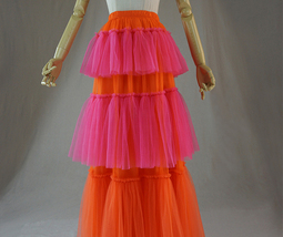 Womens Tiered Party Tulle Skirt Orange Pink Layered Mesh Tulle Party Prom Skirt image 3
