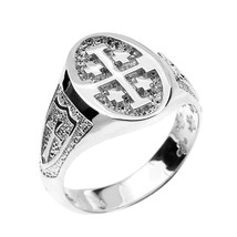 Sterling Silver Jerusalem Crusaders Cross Oval Unisex Ring - £50.21 GBP