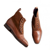 Handmade Men's Brown Suede And Leather Two Tone Buttons Boots image 2