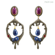 14k Gold Pave 7ct Diamond Ruby/Sapphire DROPPING HIVE Dangle Earrings 92... - $1,657.00