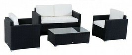Outdoor Rattan Wicker Conversation Sectional Sofa Patio Furniture Table Set - $449.87