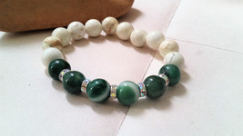 Green Line Agate,White Howlite Stretch Bracelet-Green and White Stone St... - $21.00