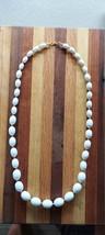 Monet Runway Bright White Elliptical Bead Single Strand w/ Gold Tone Cha... - $75.00