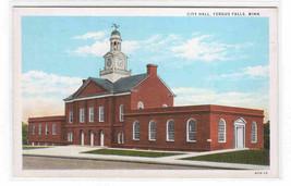City Hall Fergus Falls Minnesota 1930s postcard - $5.94
