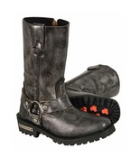 LADIES DISTRESSED GREY 11 INCH CLASSIC HARNESS  SQUARE TOE BOOT. MBL9362 - $129.99