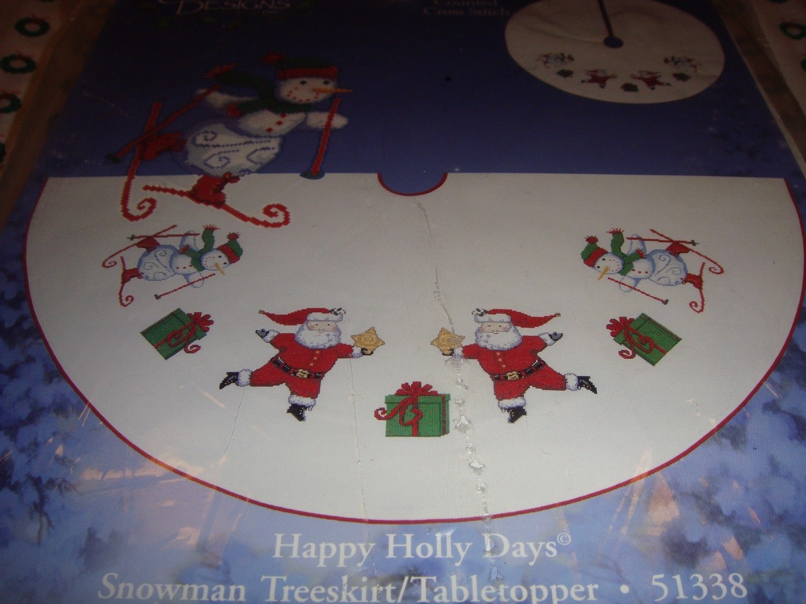 Cross Stitch Happy Holiday Snowman Tree Skirt-Tabletopper Kit  image 3