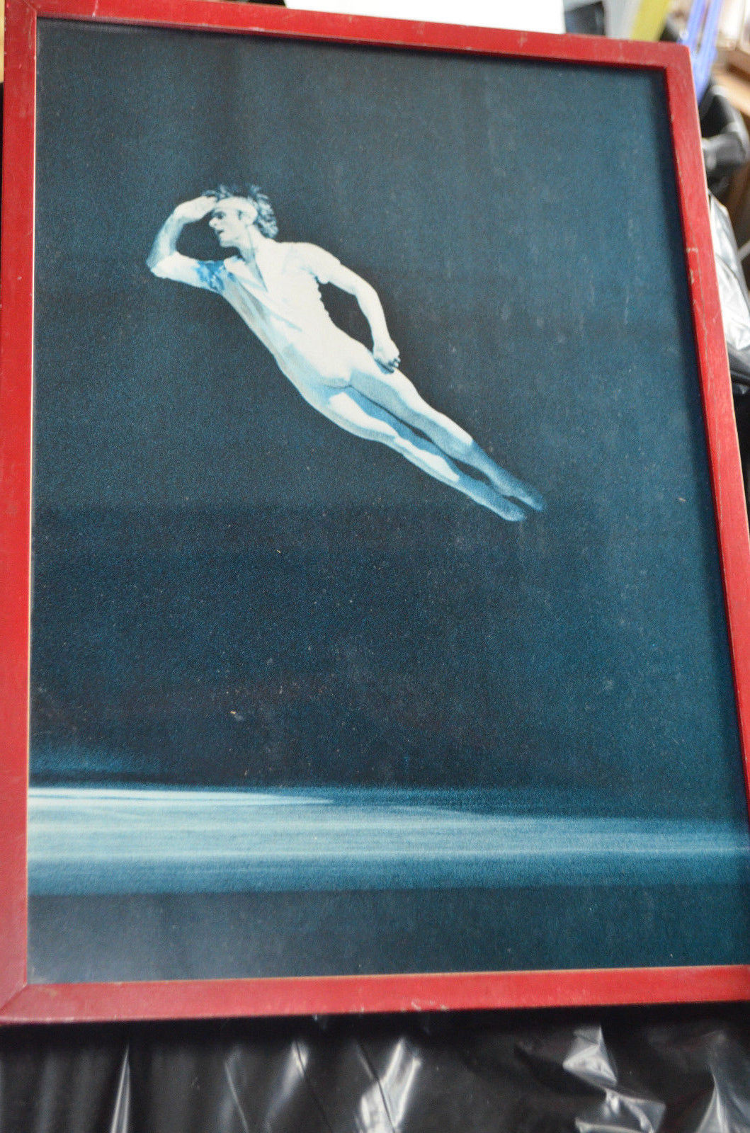 Primary image for Ballet Dancer as a Flying man in red frame w glass 17x12 or acrobatic exhibit