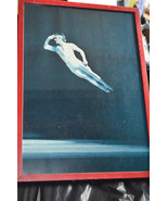 Ballet Dancer as a Flying man in red frame w glass 17x12 or acrobatic ex... - £15.14 GBP