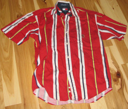 VINTAGE TOMMY HILFIGER RED WHITE NAVY BLUE YELLOW BOLD BRIGHT STRIPE SHI... - $39.59