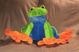 "Animal Adventure Funky Tree Frog Green Blue Orange W Red Eyes 9"" 17"" 2011 Nwt - $56.42"