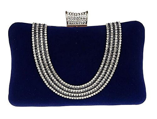 New Rhinestone Quilted Clutch Evening Bag Wedding Package 3--Blue