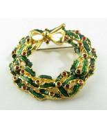 Vintage Retro Enamel Jewelry Brooch Christmas Wreath Gold Tone No Mark - $15.00