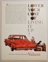 1960 Print Ad Introducing The New '60 Valiant by Chrysler Corporation Red Car - $15.79