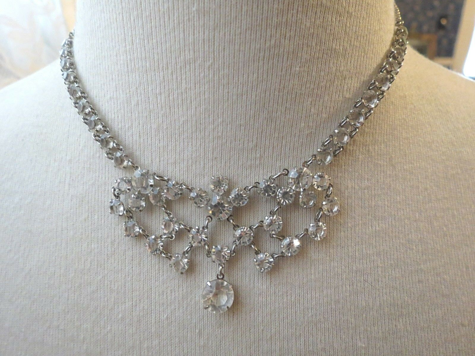 VTG Bezel Set Clear Crystal Necklace Choker Mini Bib Silver Plated Dangle Fringe