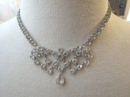 VTG Bezel Set Clear Crystal Necklace Choker Mini Bib Silver Plated Dangl... - $49.49