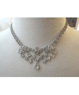 VTG Bezel Set Clear Crystal Necklace Choker Mini Bib Silver Plated Dangl... - $49.49