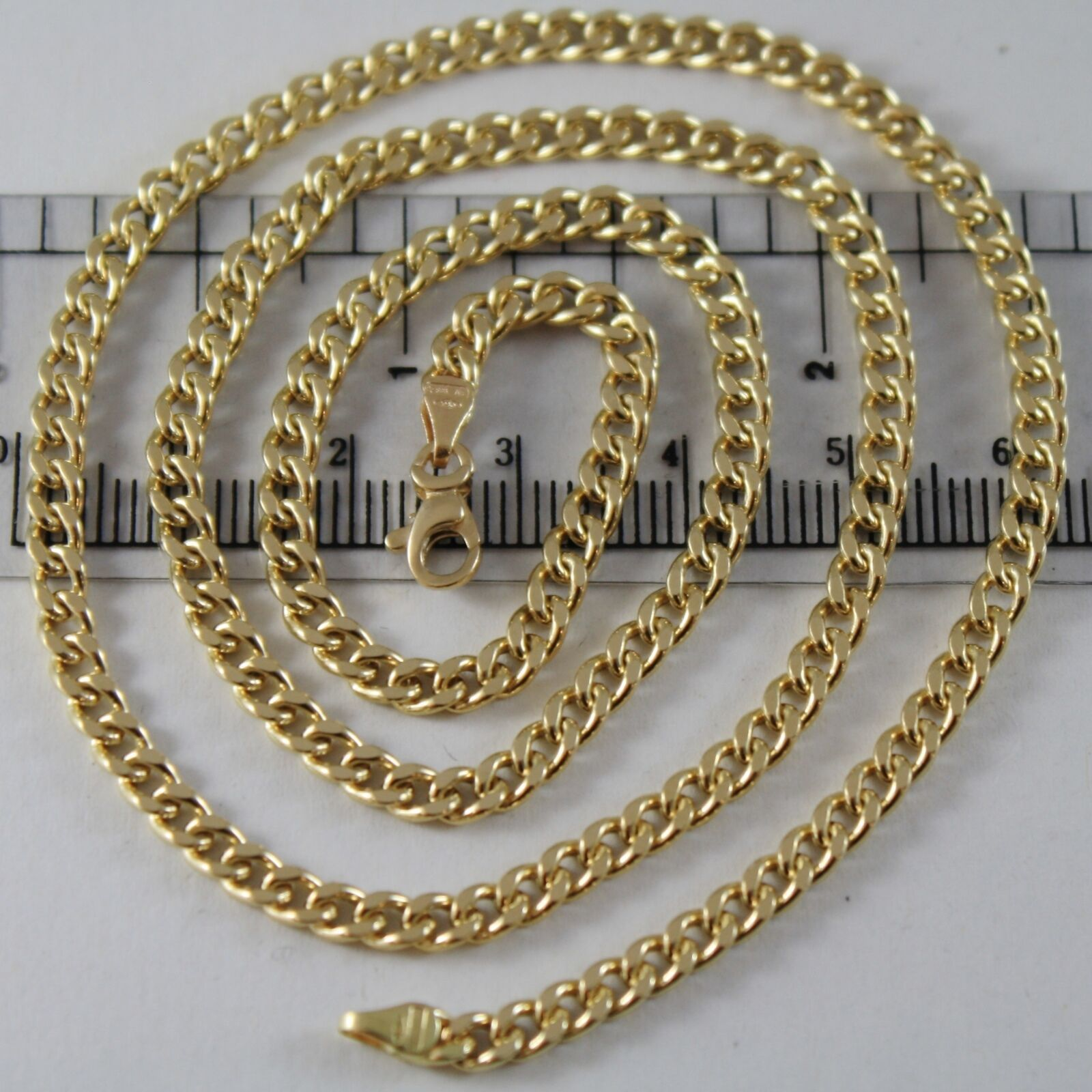 18K YELLOW GOLD CHAIN GRUMETTE GOURMETTE LINK 3 MM, 23.60 INCHES MADE IN ITALY