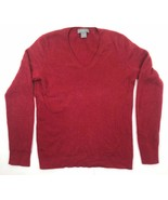 Ann Taylor Cashmere Long Sleeve Sweater Pullover V-Neck Dark Red Large EUC - £22.01 GBP