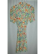 1980s Secretary Shirt Dress Schrader Sport Petite Multi-Color Floral Siz... - $29.69