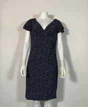 Lauren Ralph Lauren Dress Navy Blue Geometrical Faux Wrap Sz 12P Petite ... - $109.00