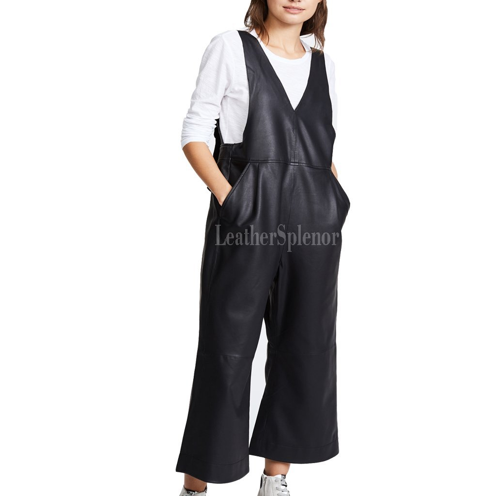 Cropped Leather Jumpsuit For Women