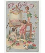 Vintage Postcard Easter Children Decorate Big Egg Silver Background Embo... - $10.88