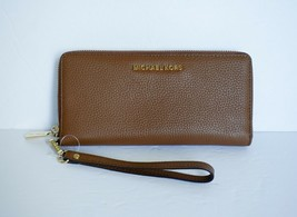Michael Kors Jet Set Travel L Continental Wristlet Pebbled Leather Brown... - $78.09