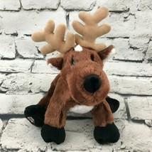 Webkinz Ganz Reindeer Plush Brown Sitting Stuffed Animal Soft Toy - $7.91