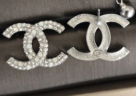 AUTHENTIC CHANEL CRYSTAL LARGE CC LOGO RHINESTONE EARRINGS SILVER image 3