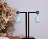 Turquoise - Druzy Earrings, Two Tone Gemstone Earrings,22K Gold Filled Earrings - £26.62 GBP