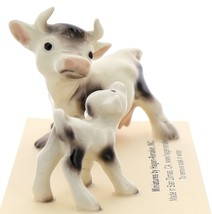 Hagen-Renaker Miniature Ceramic Cow Figurine Spotted Mama and Baby Calf image 1